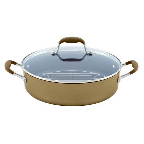 Advanced Bronze Hard-Anodized Nonstick, 5-1/2-Quart Covered Braiser with Rack