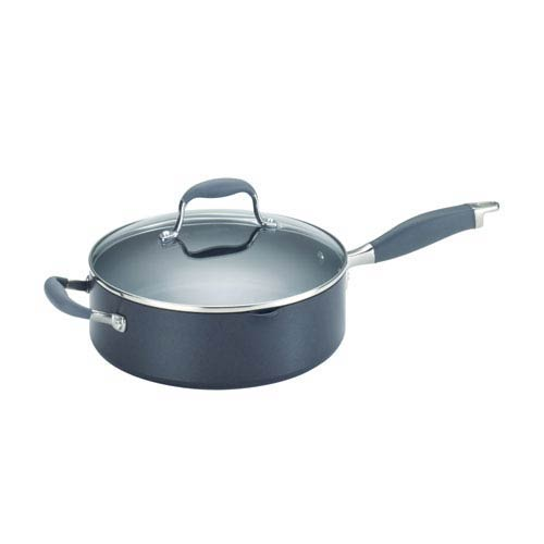 Advanced Hard-Anodized Nonstick, Gray 4-Quart Covered Saute with Helper Handle