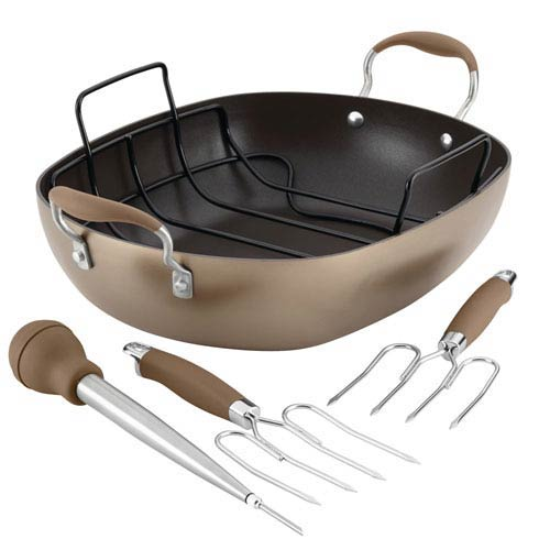 Advanced Hard-Anodized Bronze 16 x 13-Inch Nonstick Roaster Set