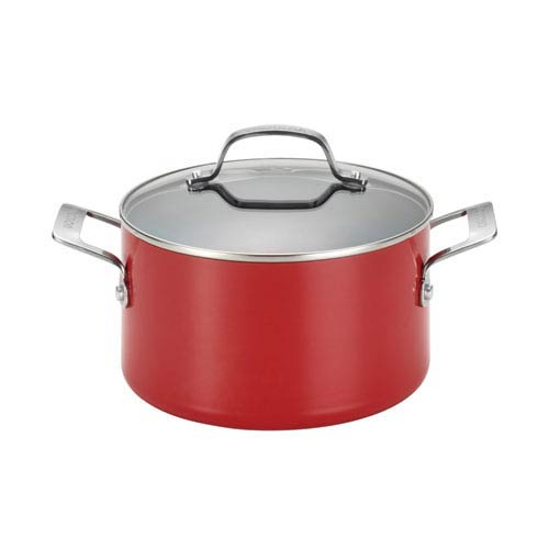 Genesis Red Aluminum Nonstick 4.5-Quart Covered Dutch Oven