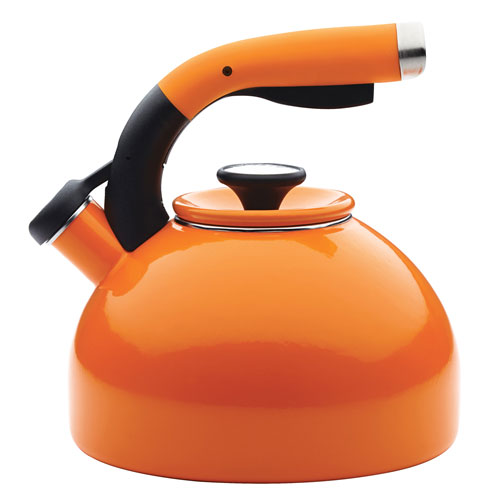 Enamel-on-Steel 2-Quart Orange Morning Bird Teakettle