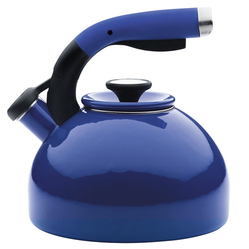 Enamel-on-Steel 2-Quart Royal Blue Morning Bird Teakettle