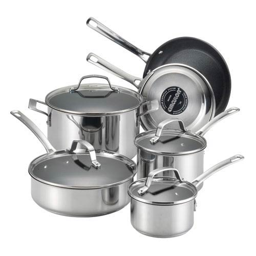 Genesis Stainless Steel Nonstick 10-Piece Cookware Set