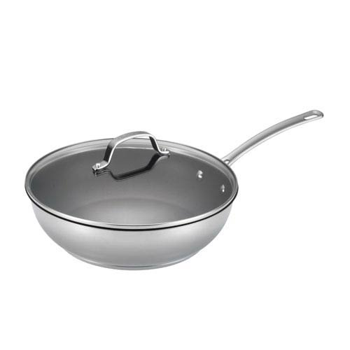 Genesis Stainless Steel Nonstick 12.5-Inch Covered Deep Skillet