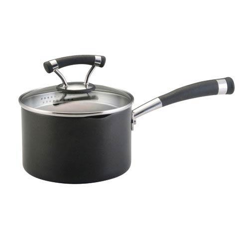 Contemporary Black Contempo 2-Quart Covered Straining Saucepan