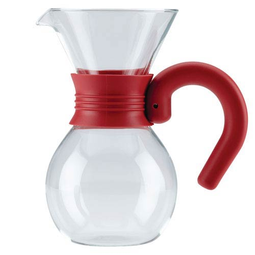 Glass 20-Ounce Pour Over Brewer and Pitcher with Red Handle