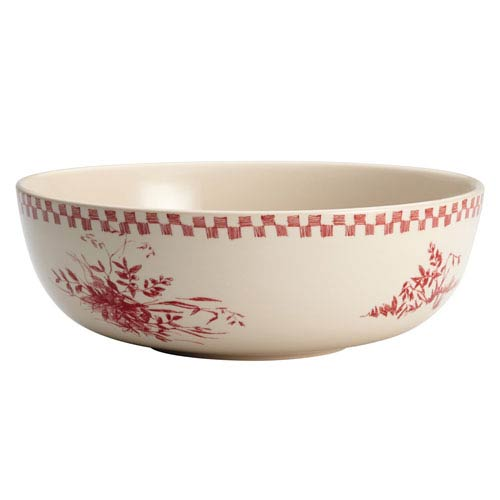 Chanticleer Country Burgundy Red 9-Inch Stoneware Round Serving Bowl