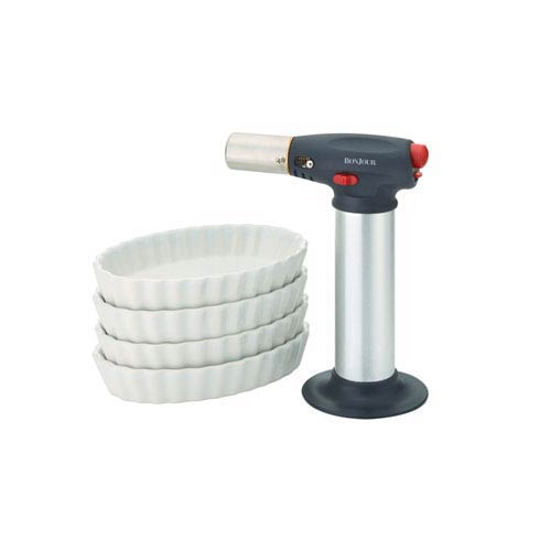 Chefs Tools, 5-Piece Creme Brulee Torch and Porcelain Ramekin Set