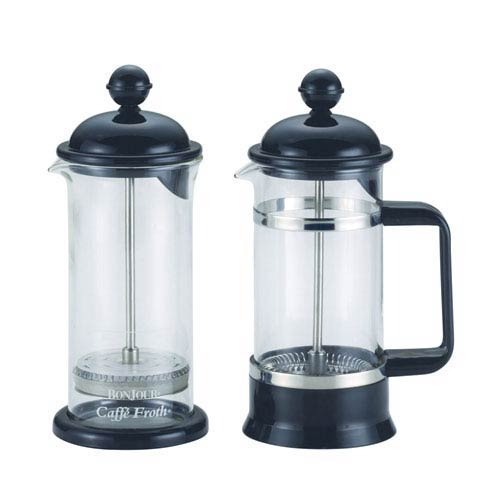Coffee, Black, La Petite, 12.5-Ounce,, Borosilicate Glass French Press and Milk Frother Set