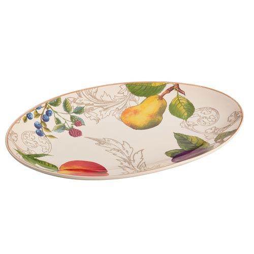 Bonjour Orchard Harvest Stoneware 8.75-Inch x 13-Inch Oval Platter