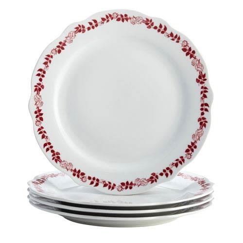 Yuletide Garland 4-Piece Porcelain Fluted Dinner Plate Set
