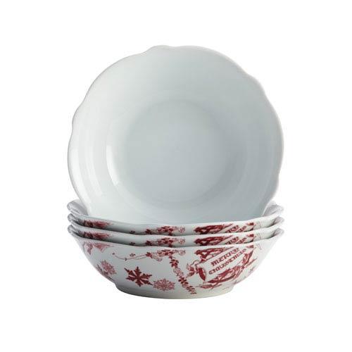 Yuletide Garland 4-Piece Porcelain Fluted Cereal Bowl Set