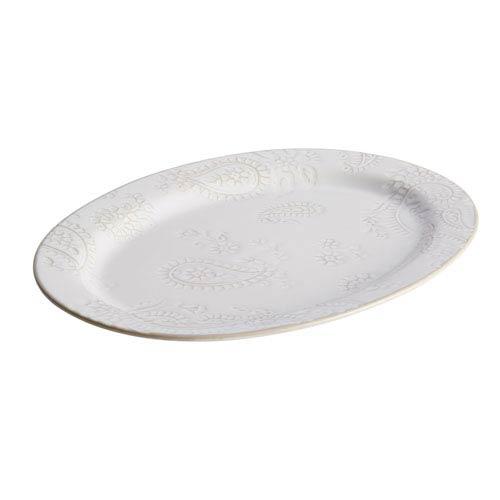 Paisley Vine Cream 10-Inch x 14-Inch Stoneware Oval Platter