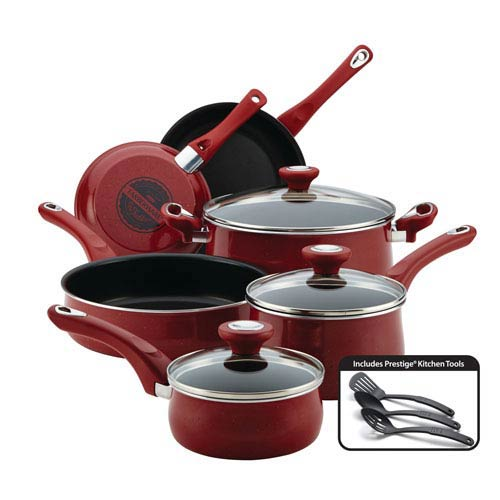 New Traditions Speckled Aluminum Nonstick Red 12-Piece Cookware Set