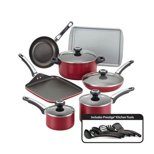 Nonstick Red Aluminum 17-Piece Cookware Set