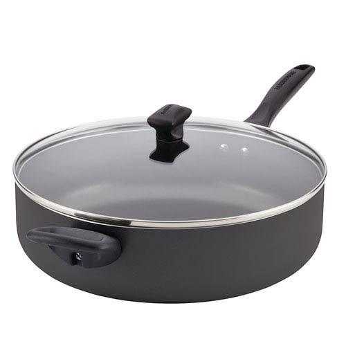 Nonstick Aluminum Black 6-Quart Covered Jumbo Cooker with Helper Handle