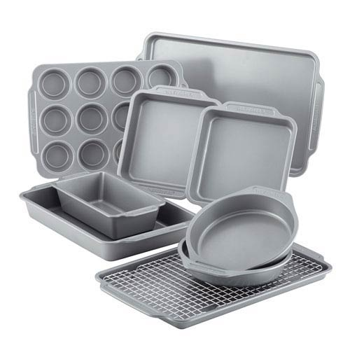 Nonstick Gray 10-Piece Bakeware Set with Cooling Rack