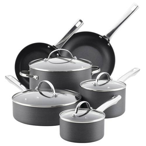 Hard-Anodized Aluminum Gray 14-Piece Nonstick Cookware Set