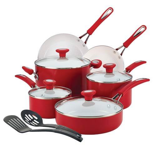 Ceramic CXi, Red Nonstick Aluminum 12-Piece Cookware Set