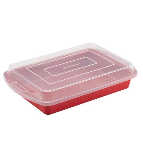 Red Ceramic Nonstick 9-Inch x 13-Inch Covered Cake Pan