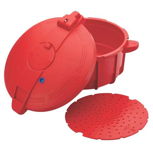 Large, Red Microwavable Pressure Cooker