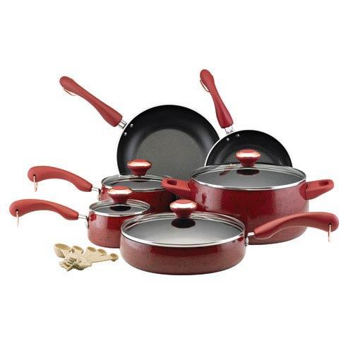Porcelain Red Nonstick 15-Piece Cookware Set