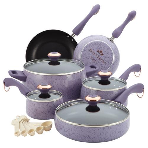 Porcelain Lavender Nonstick 15-Piece Cookware Set