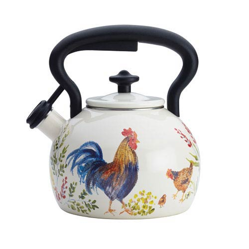 Signature Teakettle Garden Rooster 2-Quart Enamel on Steel Teakettle