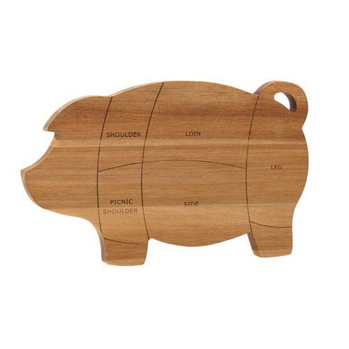 Wooden Pig 8.5-Inch x 14-Inch Cutting and Serving Board
