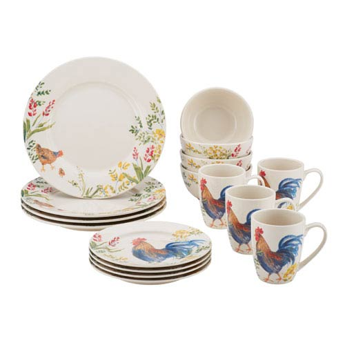 Paula Deen Garden Rooster 16-Piece Stoneware Dinnerware Set