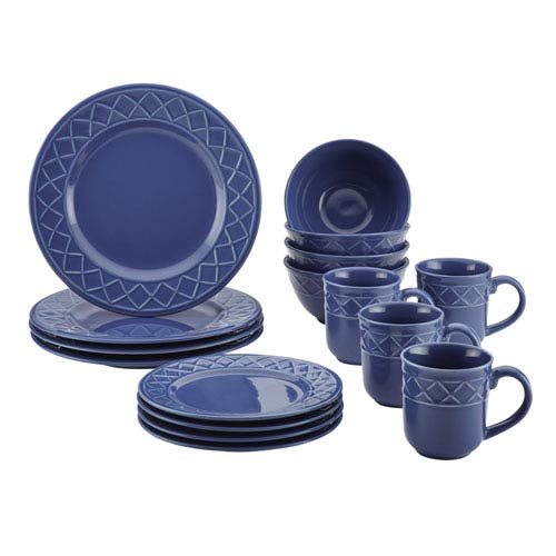 Savannah Trellis Blue 16-Piece Stoneware Dinnerware Set