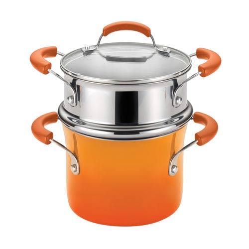 Orange 3-Quart Covered Steamer Set