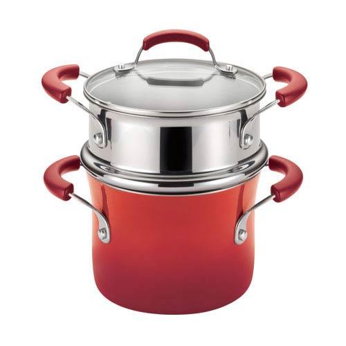 Red 3-Quart Covered Steamer Set