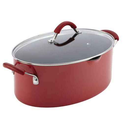 Cucina, Red Porcelain 8-Quart Pasta Pot