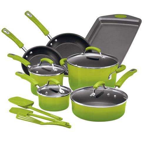 Green Gradient 14-Piece Cookware Set