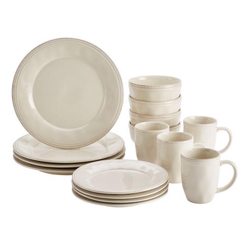 Rachael Ray Cucina 16 Piece Ricotta White Dinnerware Set 46803 ...