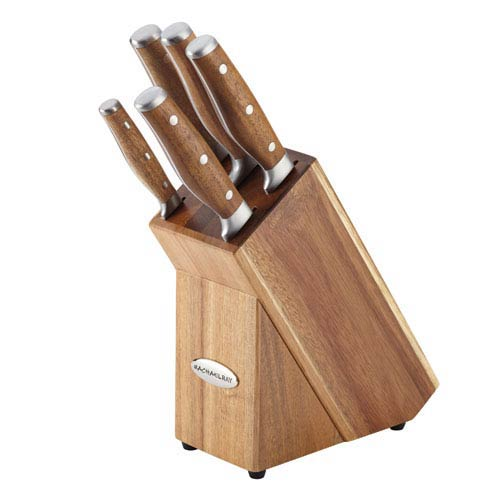 Cucina, 6-Piece Japanese Stainless Steel Knife Block Set with Acacia Handles