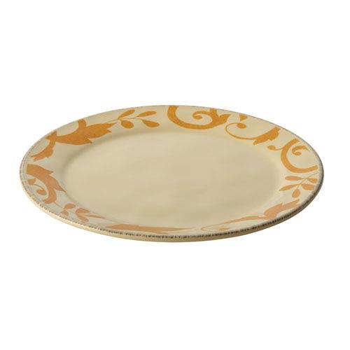 Almond Cream Gold Scroll 12.5-Inch Round Platter