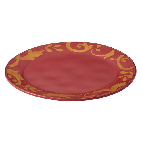 Cranberry Red Gold Scroll 12.5-Inch Round Platter
