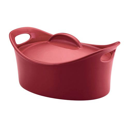 Red 4.25-Quart Oval Casserole Baking Dish