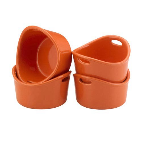 Orange 4-Piece Bubble and Brown Ramekin Set