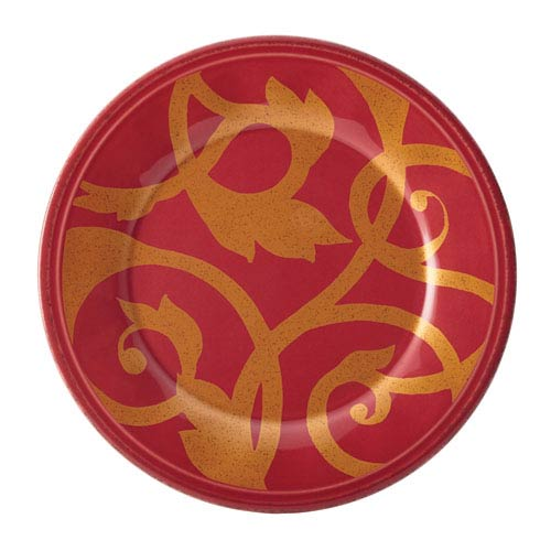 Gold Scroll, Red 8-Inch Salad Plate