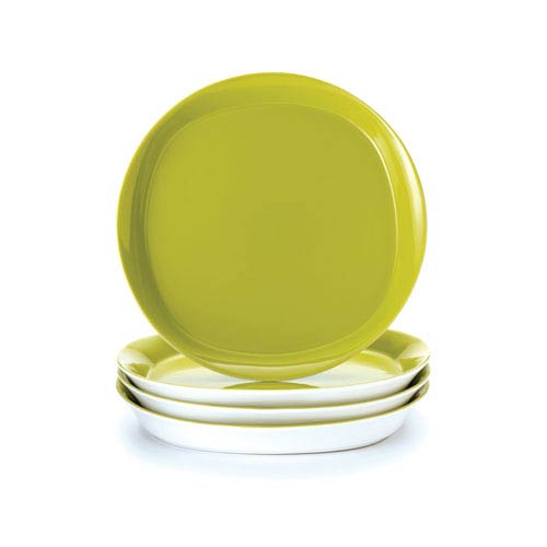 Round and Square Green 4-Piece Dinner Plate Set