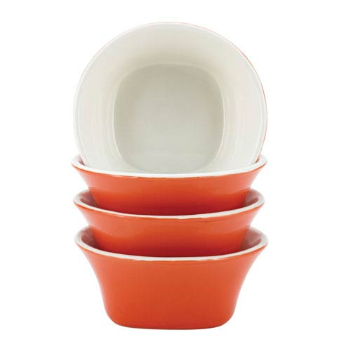 Round and Square Orange 4-Piece Stoneware Fruit Bowl Set