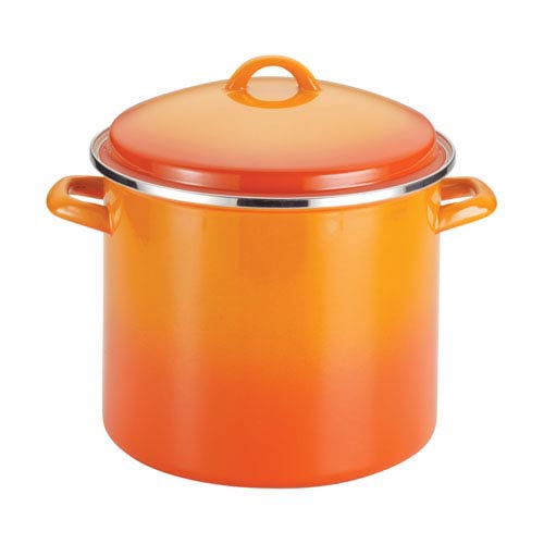Orange 12-Quart Covered Stockpot