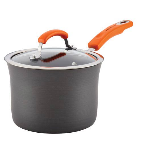 Rachael Ray Gray with Orange Handle Hard-Anodized Aluminum 3-Quart Covered Saucepan