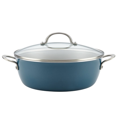 Ayesha Curry Home Collection Twilight Teal 7.5-Quart Porcelain Enamel Nonstick One Pot Meal Stockpot