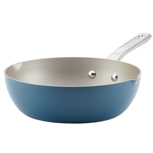 Home Collection Twilight Teal 9.75 In. Porcelain Enamel Nonstick Chef Pan with Pour Spouts