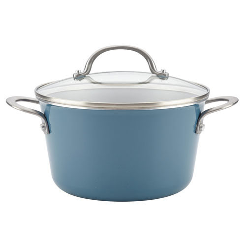 Home Collection Twilight Teal 4.5-Quart Porcelain Enamel Nonstick Covered Saucepot