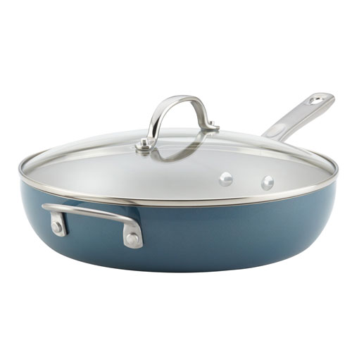 Home Collection Twilight Teal 12 In. Porcelain Enamel Nonstick Covered Deep Skillet with Helper Handle